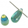 Glass Bead Droplet 5X10mm Blue/Green/Yellow - Strung